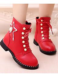Para Meninas sapatos Couro Ecológico Outono Inverno Conforto Botas de Neve Botas Para Casual Preto Vermelho Vinho