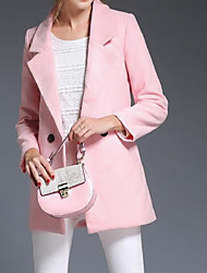 cheap -Women's Daily Going out Street chic Winter Fall Coat,Solid Peaked Lapel Regular Wool