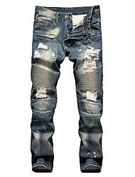 Hombre Simple Tiro Medio Microelástico Vaqueros Chinos Pantalones,Vaqueros Chinos Un Color rasgado