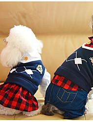 baratos -Cachorro Macacão Vestidos Roupas para Cães Formais Preto Vermelho Tecido Felpudo Ocasiões Especiais Para animais de estimação Casual