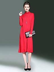 Ample Balançoire Robe Femme Sortie Décontracté / Quotidien simple,Couleur Pleine Col Roulé Midi Manches Longues Rayonne Polyester Nylon
