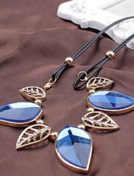 Недорогие -Жен. Кристалл Заявление ожерелья В форме листа Свисающие Темно-синий Ожерелье Бижутерия Назначение Для вечеринок Повседневные