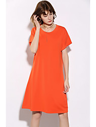cheap -Women's Club Sexy A Line Dress,Solid Round Neck Knee-length Short Sleeves Silk Summer Mid Rise Micro-elastic Translucent