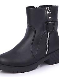 baratos -Feminino Sapatos Couro Ecológico Outono Inverno Conforto Botas Rasteiro Ponta Redonda Botas Cano Médio Ziper Para Casual Preto Cinzento
