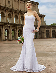 cheap -Mermaid / Trumpet Sweetheart Sweep / Brush Train Lace Wedding Dress with Appliques by LAN TING BRIDE®