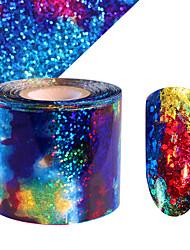 cheap -1Pcs Sky Nail Sticker Foil Blue Holographic Paper Decals Decor Nail Art Design 5cm*1M