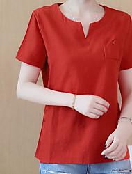 cheap -Women's Daily Casual T-shirt,Solid Sweetheart Short Sleeves Linen