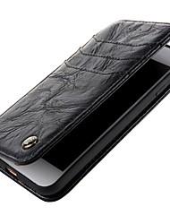 Недорогие -Кейс для Назначение Apple iPhone X iPhone 8 Кошелек Флип Чехол Сплошной цвет Твердый Настоящая кожа для iPhone X iPhone 8 Pluss iPhone 8