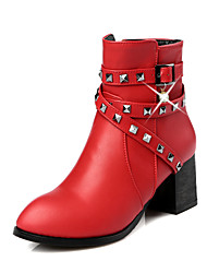 Women's Shoes Microfibre Leatherette Fall Winter Fashion Boots Bootie Boots Chunky Heel Round Toe Booties/Ankle Boots Imitation Pearl