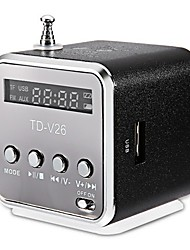 TD-v26 Mini Style Time Display Radio 3.5mm AUX Outdoor Speaker Light Blue Crimson Silver Black