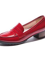 preiswerte -Damen Schuhe Nappaleder Leder Frühling Herbst Komfort Pumps High Heels Blockabsatz für Normal Schwarz Rot Blau Rosa