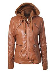 cheap -Women's Boho Leather Jacket - Color Block, Patchwork