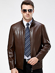 Men's Casual/Daily Simple Fall Winter Leather Jackets,Solid Stand Long Sleeve Regular Lambskin
