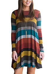economico -T Shirt Vestito Da donna-Per uscire Casual A strisce Monocolore Rotonda Mini Manica lunga Poliestere Primavera Autunno A vita medio-alta