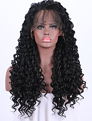 cheap -Women Synthetic Wig Lace Front Medium Length Long Curly Wavy Kinky Curly Black Party Wig Celebrity Wig Halloween Wig Carnival Wig Cosplay