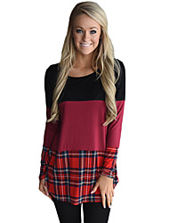 cheap -Women's Holiday Going out Active Autumn/Fall T-shirt,Color Block Round Neck Long Sleeves Polyester Elastane Medium