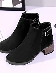 Women's Boots Fall Winter Fleece Casual Chunky Heel Lace-up Black Army Green