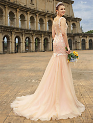 cheap -A-Line V-neck Court Train Lace Tulle Knit Wedding Dress with Appliques Buttons by LAN TING BRIDE®