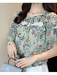 cheap -Women's Going out Casual Blouse,Print Crew Neck 3/4 Length Sleeves Silk Nylon