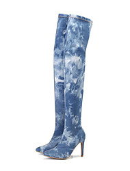 cheap -Women's Shoes Denim Fall Winter Fashion Boots Combat Boots Slouch Boots Boots Stiletto Heel Pointed Toe Over The Knee Boots Thigh-high