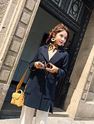 Недорогие -Для женщин На выход Зима Пальто V-образный вырез,Простой Однотонный Длинная Другое Шерстяная ткань