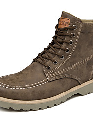 cheap -Men's Shoes Pigskin Fall Winter Comfort Boots Mid-Calf Boots Lace-up For Casual Outdoor Brown Gray Black