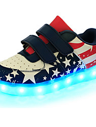 cheap -Boys' Shoes Leather Spring Comfort / Novelty / Light Up Shoes Sneakers Magic Tape / LED for Blue
