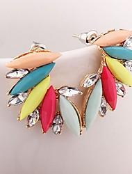 abordables -Mujer Pendientes cortos Zirconia Cúbica Moda Clásico Piedras preciosas sintéticas Legierung Alas / Pluma Joyas Para Fiesta Noche