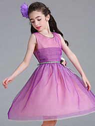 cheap -Ball Gown Knee Length Flower Girl Dress - Organza Sleeveless Jewel Neck with Flower(s) Sash / Ribbon Ruching by YDN