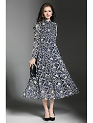 cheap -SHE IN SUN Women's Daily Work Casual Street chic Swing Dress,Jacquard Crew Neck Maxi Long Sleeves Polyester Winter Fall Mid Rise Inelastic Medium