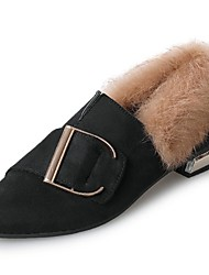 Women's Shoes Cashmere Fall Comfort Loafers & Slip-Ons Flat Heel Pointed Toe For Casual Brown Black
