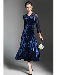 Women's Party Going out Sexy Sheath Lace Dress,Solid V Neck Midi Long Sleeves Rayon Fall Winter High Rise Micro-elastic Medium