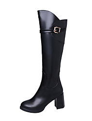Women's Shoes PU Fall Winter Comfort Boots Low Heel Knee High Boots For Casual Black