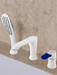abordables -Moderne/Contemporain Baignoire et douche Douche pluie Séparé Soupape céramique 3 trous Blanc, Robinet de baignoire