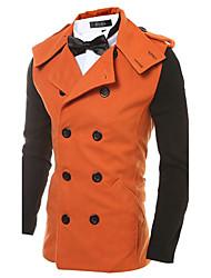 cheap -Men's Simple Casual Active Street chic Cotton Coat-Color Block,Patchwork