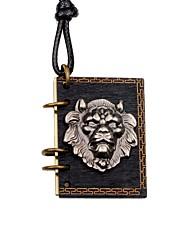 cheap -Men's Locket Lion Shape Metallic Vintage Choker Necklace Wood Alloy Choker Necklace Gift Going out