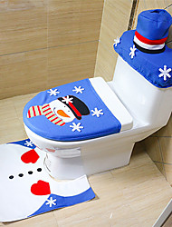 cheap -3Pcs/Set Christmas Bathroom Decor Blue Snowman Toilet Seat Cover Bathroom Decorations Gift