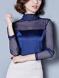 cheap -Women's Plus Size Polyester Nylon Blouse - Solid, Lace Mesh Patchwork Turtleneck