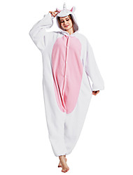 Pijama Kigurumi Unicórnio Pijama Macacão Pijamas Ocasiões Especiais Lã Polar Fibra Sintética Rosa Cosplay Para Adulto Pijamas Animais