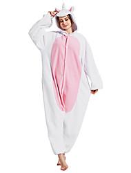 cheap -Adults' Kigurumi Pajamas Unicorn Onesie Pajamas Costume Polar Fleece / Synthetic Fiber Pink Cosplay For Animal Sleepwear Cartoon Halloween Festival / Holiday