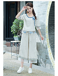 cheap -Women's Mid Rise Inelastic Wide Leg Pants,Casual Embroidered Summer