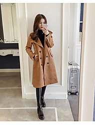 cheap -Women's Daily Simple Casual Fall Coat,Solid Peaked Lapel Long Sleeve Long Others