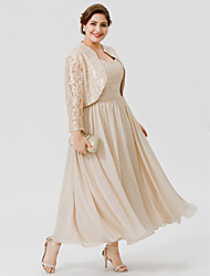cheap -Princess Straps Ankle-length Chiffon Lace Plus Size Mother of the Bride Dress by LAN TING BRIDE®