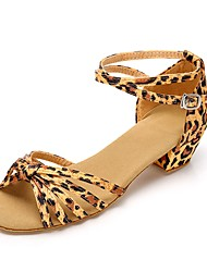 Da donna Scarpe da ballo bambino Seta Sandali Tacchi Sneaker Addestramento Nastro Quadrato Leopardo Personalizzabile