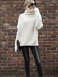 preiswerte -Damen Standard Pullover-Ausgehen Lässig/Alltäglich Solide Rollkragen Langarm Elasthan Herbst Winter Mittel Mikro-elastisch