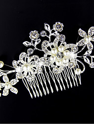 Imitation Pearl Alloy Hair Combs Hair Pin Headpiece Elegant Style