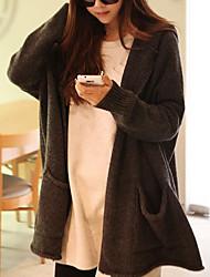 cheap -Women's Daily Casual Regular Cardigan,Solid Hooded Long Sleeves Cotton Fall Medium Micro-elastic