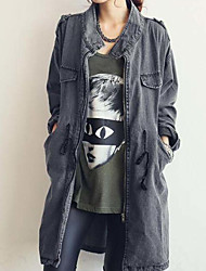 Women's Going out Casual/Daily Simple Spring Fall Denim Jacket,Solid Cowl Long Sleeve Long Cotton
