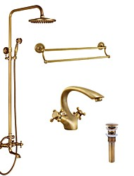 Rustic/Lodge Traditional/Vintage Shower System Handshower Included Two Holes for  Antique Brass , Shower Faucet