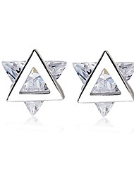 Women's Stud Earrings AAA Cubic Zirconia Sexy Personalized Sterling Silver Zircon Star Triangle Shape Jewelry For Party Evening Party